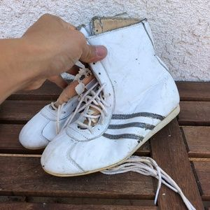 Vintage Original 1970s Adidas White Hightop Laceup